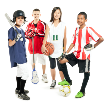 Children In Sports Attire - Isolated